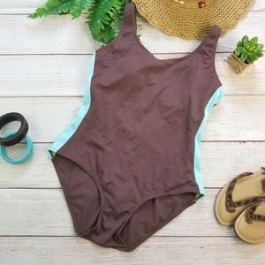 Vogue 12 Brown Turquoise One Piece Swimsuit